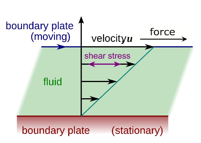 Illustration of the fluid layers within a simple shearing geometry